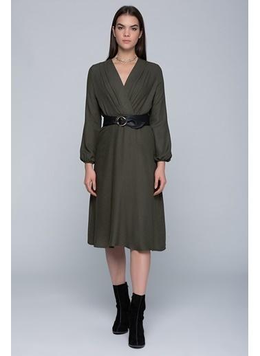 Cottonmood 7432424 Beli Lastikli Kruvaze Uzun Kol Elbise Haki